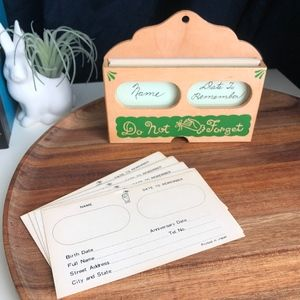 Vintage Do Not Forget Wooden Card Box
